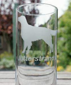 Longdrinkglas met hond en naam of `I love my´Geëtst inh 62 cl     € 4.95